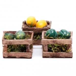 Miniature food: Boxes with melons and watermelons set of 3 pieces