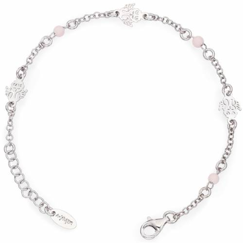 Bracciale AMEN Angelo con perline rosa Arg. 925 s1