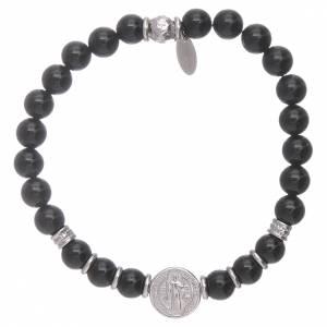 Bracciale AMEN argento 925 San Benedetto e perline onice uomo s1