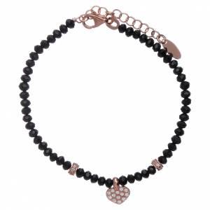 Bracciale Amen cristalli neri cuore argento 925 rosé e zirconi s1