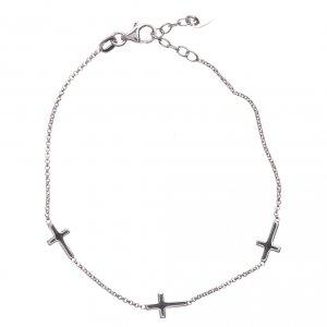 Bracciale AMEN Croci stondate argento 925 fin. Rodio s2