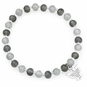 Bracciale AMEN perle Murano grigio 6 mm argento 925 s1