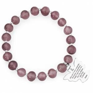 Bracciale AMEN perle Murano viola chiaro 8 mm argento 925 s1
