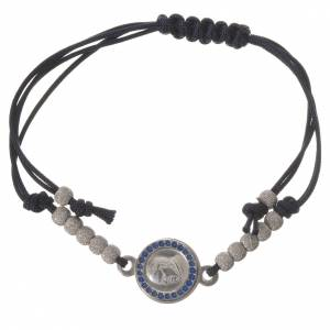 Bracciale corda nera medaglia arg 800 Papa Francesco s1
