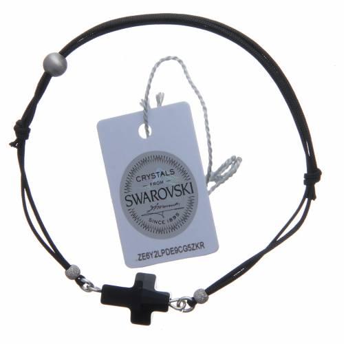 Bracciale in corda con croce cristallo Swarovski nero s2