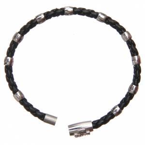 Bracciali in argento: Bracciale MATER nero croce e decina argento 925