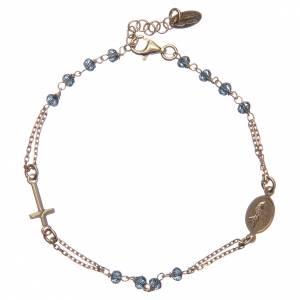 Bracciale rosario AMEN cristalli blu arg 925 fin. Giallo s2