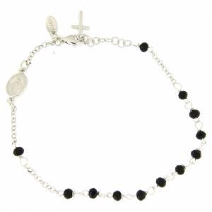Bracciale rosario AMEN croce charm arg 925 cristalli fin. Rodio s1