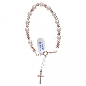 Bracciale rosario in cavetto argento 925 palline perla e rondelle ematite rosé s1