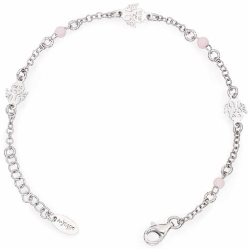 Bracelet AMEN Ange avec petites perles roses Argent 925 s1