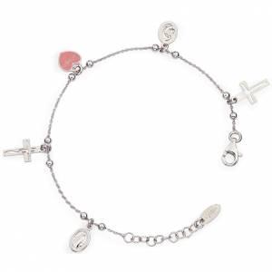 Bracelet AMEN Charm Christ Vierge coeur rose Argent 925 s1