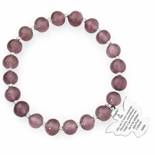 Bracelet Amen perles verre Murano mauve 8 mm argent 925 s1