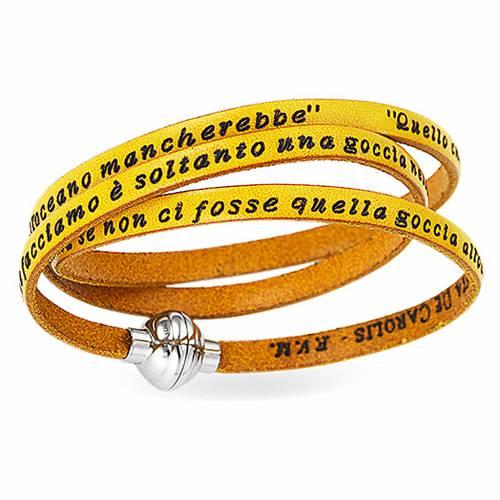 Bracelet AMEN phrase Mère Teresa de Calcutta ITA jaune s1