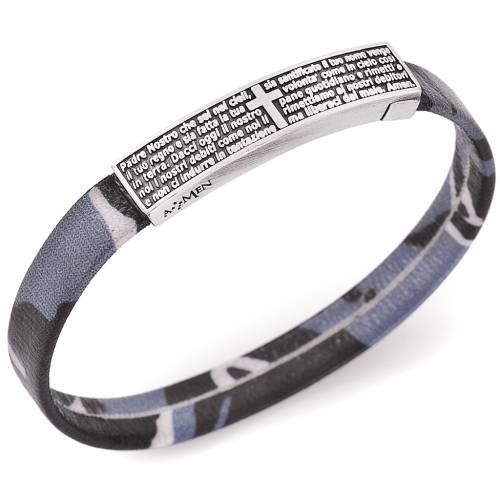 Bracelet Amen plaque Notre Père camouflage bleu ITA s1