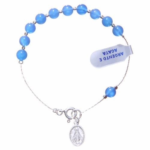Bracelet argent 800 agate bleue 6 mm s1