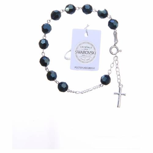 Bracelet argent 800 cristaux Swarovski 8 mm bleu s2