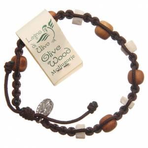 Bracelet bois olivier pierre blanche Medjugorje brun s2