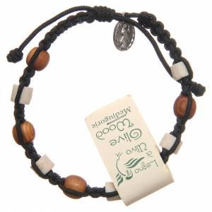 Bracelet bois olivier pierre blanche Medjugorje noir s2