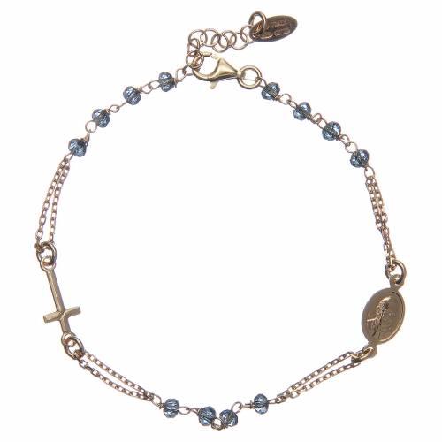 Bracelet chapelet AMEN argent 925 cristaux bleus fin. or s2