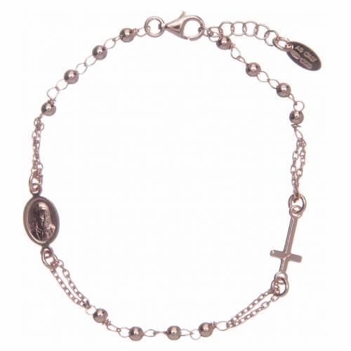 Bracelet chapelet AMEN argent 925 fin. rosée s1