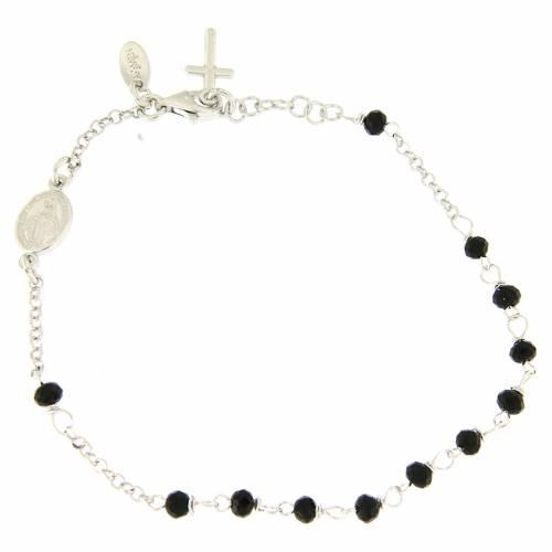 Bracelet chapelet AMEN croix charm argent 925 cristaux fin. rhodium s1
