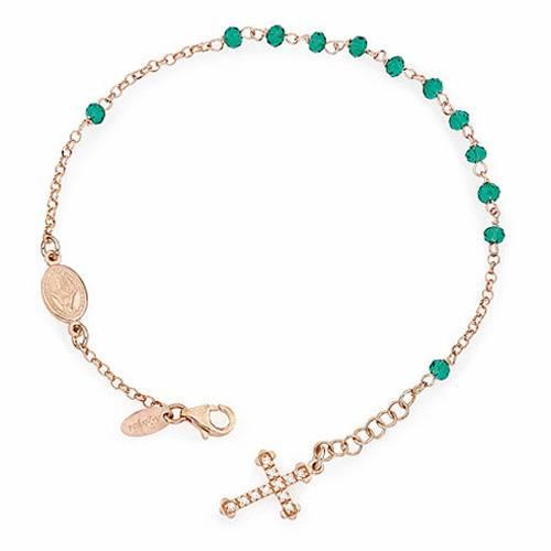 Bracelet chapelet AMEN croix charm pavé cristaux verts arg rosé s1