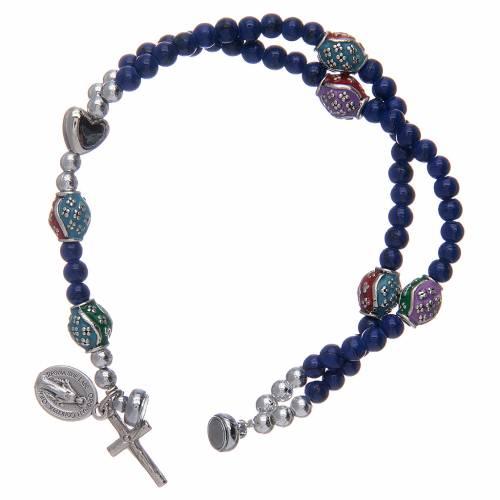 Bracelet chapelet avec grains en verre de 4 mm et en métal émaillé bleu s3