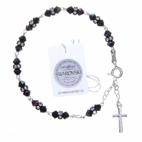Bracelet chapelet cristaux Swarovski coniques noirs s2
