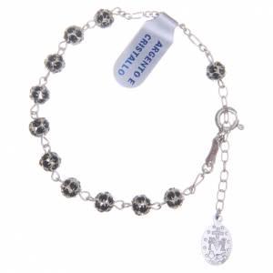 Bracelet chapelet grains strass noirs s2
