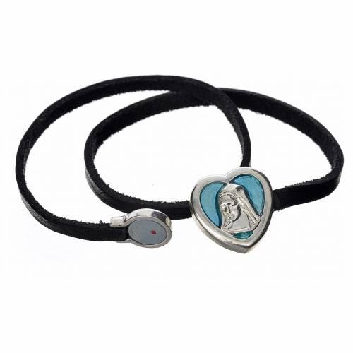 Bracelet cuir noir image Vierge Marie émail bleu clair s2