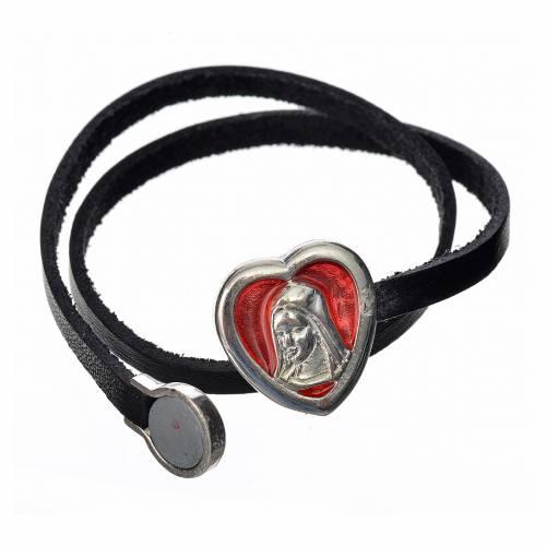 Bracelet cuir noir image Vierge Marie émail rouge s2