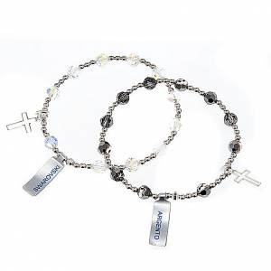 Bracelets en argent: Bracelet élastique, argent et swarovski