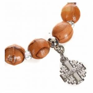 Bracelets divers: Bracelet en bois d'olivier avec croix Jérusalem en c