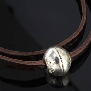 Bracelets divers: Bracelet en cuir Medjugorje sphère long. 39 cm