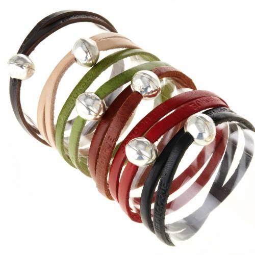 Bracelet en cuir Medjugorje sphère long. 39 cm s1