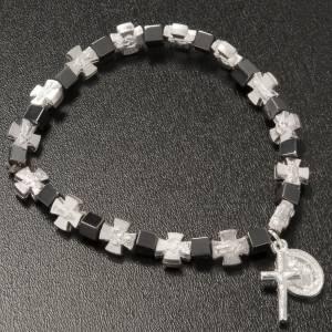 Bracelets divers: Bracelet hématite avec croix et Vierge Miraculeuse