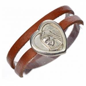 Bracelet image Vierge Marie cuir marron clair s1