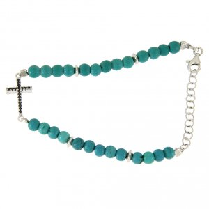 Silver bracelets: Bracelet in 925 sterling silver, turquoise paste and cross with black zircons