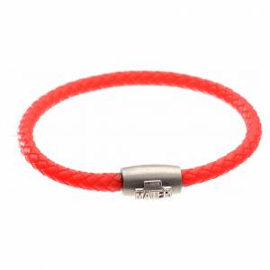 Silver bracelets: Bracelet in red leather with silver cross, MATER jewels