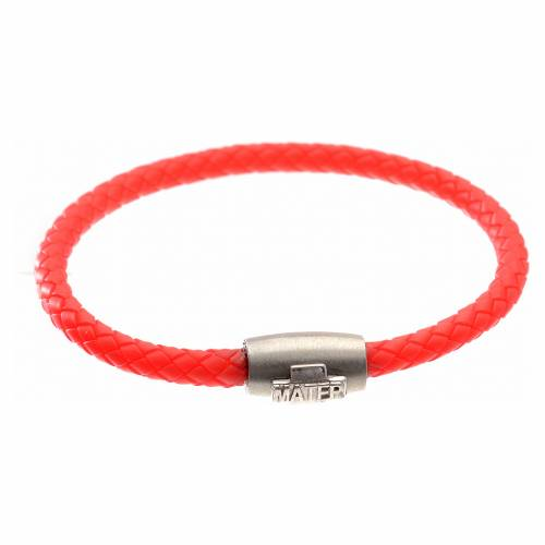 Bracelet in red leather with silver cross, MATER jewels s1