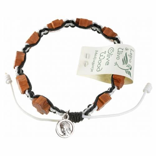 Bracelet Medjugorje corde noir et blanc croix en olivier s2