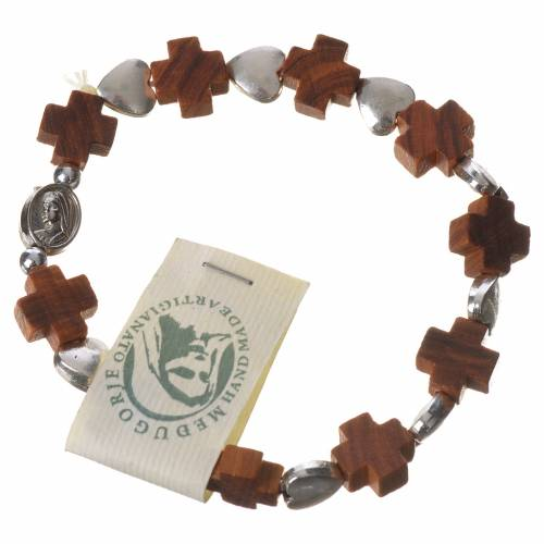 Bracelet Medjugorje élastique grains croix olivier coeur métal s1