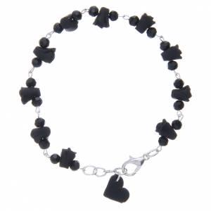 Bracelets, dizainiers: Bracelet Medjugorje roses noires céramique et grains cristal