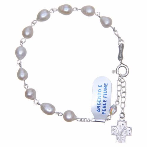 Bracelet perles de fleuve argent 800 6 mm croix pavage s1