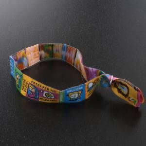 Bracelets divers: Bracelet religieux en tissu avec marque page prière