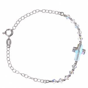 Bracelet Silver 800 cross white Swarovski 4mm s2