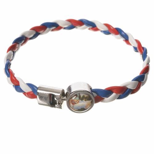 Bracelet tressé 20 cm Ange blanc/rouge/bleu s1