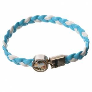 Bracelet tressé 20 cm Ange bleu clair/blanc s1