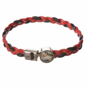 Bracelet tressé 20 cm Ange rouge/noir s1