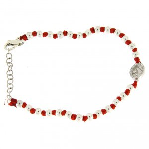 Silver bracelets: Bracelet with silver spheres sized 3 mm, red cotton knots, Saint Rita medalet and white zirconate cross